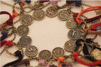 Wholesale 12pcs Lovers Bracelet Ancient Twelve Constellations Hemp Rope Bangle Handmade Cuff Bracelet