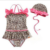 Wholesale Baby Girls Toddler Swimwear Leopard Bikini Kids Bathing Suit One Piece Swimsuit sizes D