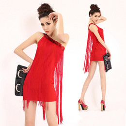 Wholesale Performances Stylish Shoulder Latin Dance Dress Nightclub Fringed Evening Package Hip Dress Stage Performance Clothing