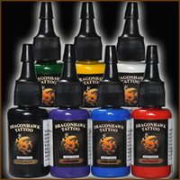 Wholesale 7 Color OZ Bottles Tattoo Inks Dragonhawk Tattoo Inks Sets Tattoo Pigment Tattoo Supplies Black Tattoo Ink For Tattoo Machine DHL Free