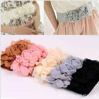 Wholesale Hot sale Elastic Belt Women Cute Waistband Waist Multicolor Fashion lady s Flower Double Rose Buckle Belt dress decoration t5147