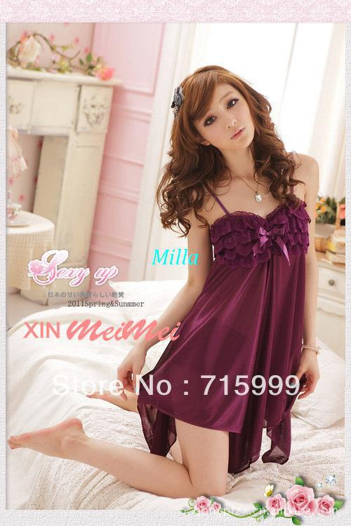 Free Shipping Milla Sexy Silk Purple Lingerie Dress +G-string Set One