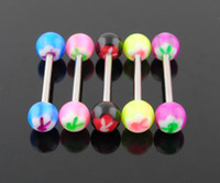 Wholesale Body Jewelry Acrylic Tongue Ring Barbell Bunny Tongue Bars Mixed Colors