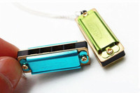 Wholesale Cool Mini hole tone harmonica sound necklace harmonica Multi colors