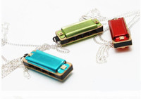 Wholesale Mini hole tone harmonica sound necklace harmonica colors for choose