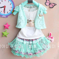 Wholesale Children Set Kids Suit Outfits Child Condole Belt Cute Lace Wraps Summer Tank Tops Baby Girls Skirts Tutus Lovely Set Fashion Princess Suit