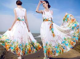 New Arrival Summer Women Sleeveless Print Floral Chiffon Dress Bohemian Long Dress Maxi Beach Dresses Sundress