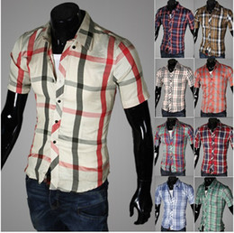 Wholesale 2673 HOT New Fashion Casual Men s Shirts Slim plaid mixed colors short sleeved Shirt