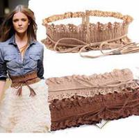 Wholesale 12 European Fashion Lady Wide Elastic Stretch Fringe Lace Belt Women Waistband with tassels dress decoration belts t5153