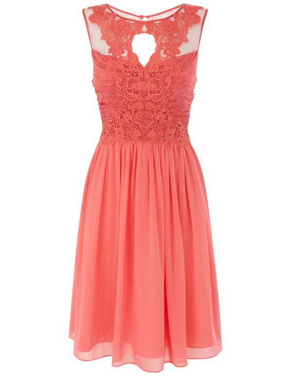 2013 Graduation Dress Chiffon Salmon Jewel Neck Lace ... Salmon Prom Dresses 2013