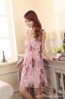 Wholesale 2013 Hot sale Womens Sexy Pink Printing Deep V Sleepwear Chiffon tracksuit One