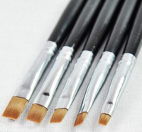 Brush Cleaners & Accessories 5 Pcs Plastic Silver UV Gel Acrylic Nail Art Builder Brush Pen Design Nail Polish Tips 1 set lot