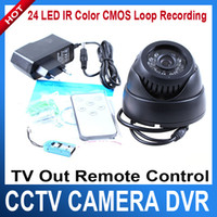 Wholesale 24 LED IR Color CMOS Loop Recording CCTV Security Dome Camera TV Out Remote Control