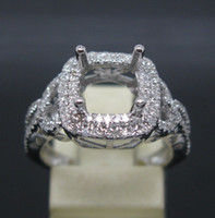 semi mount ring - CUSHION CUT SOLID Kt WHITE GOLD NATURAL DIAMOND Wedding Engagement SEMI MOUNT SETTING RING