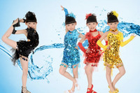 Wholesale Sexy children kids Sequined costumes Latin dance glitter clothes Dancing dress clothing