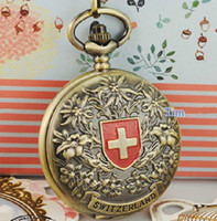 Wholesale 5pcs Antique Silver Bronze Copper Swiss Mechanical Pocket Watch Steam Punk Men Skeleton Fob Chain Watches Red Switzerland Brass Hunter Clock