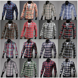 Wholesale 2674 HOT New Fashion Casual Men s Shirts Grid spell color long sleeved Shirt