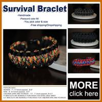 Wholesale 550 Staineless Steel Bow Shakle Buckle Paracord Bracelets Cord Lanyard Military Survival Bracelet