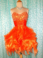 Wholesale 2013 Graduation Dresses Real CUSTOM MADE A line Sweetheart Crystals Orange Organza Short Prom Cocktail Dress Shopping Online Homecoming