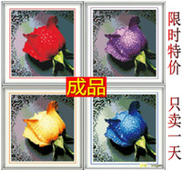 Wholesale Finished cross stitch water dripping rose red handmade paper water wash machine embroidery finished product