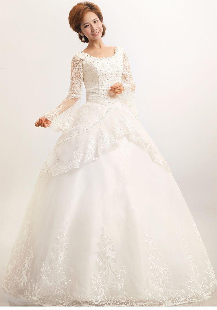 New design lotus sleeve white wedding dress lace beading Wedding dress with leaf design