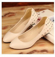 Wholesale Rivet rhinestone shallow mouth small wedges single shoes flat pointed toe female shoes work shoes spring