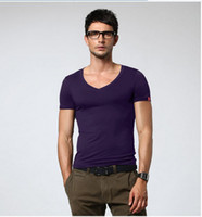 Men V_Neck Fashion Tee Free shipping 2013 new listing the top European and American style ice silk men 's tight-fitting V-neck short-sleeved t -shirt .