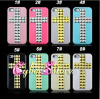 Wholesale For iphone S S DIY Cross Pyramid Stud Studs Rivet Hard Back Case Cover For iphone4 S