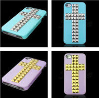 Wholesale 100pcs DIY Cross Pyramid Stud Studs Rivet Hard Back Handmade Case Cover For iphone S G