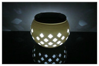 Wholesale Solar Power Milky White Ceramic Grid Pattern W LED White RGB Light Decoration Lamp