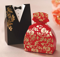 Favor Boxes as show Paper 100pcs lot wedding favor holders party gift bridal groom suit sweet candy boxes box wc104