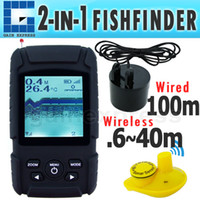 Wholesale FF718Li Portable Digital in Fish Finder Fishfinder Sonar Transducer ft m Wireless Sensor ft m Auto Manual Range