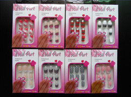 Wholesale New Arrive set ABS False Nail Full Tips Pre Designed French with Free Nail Glue
