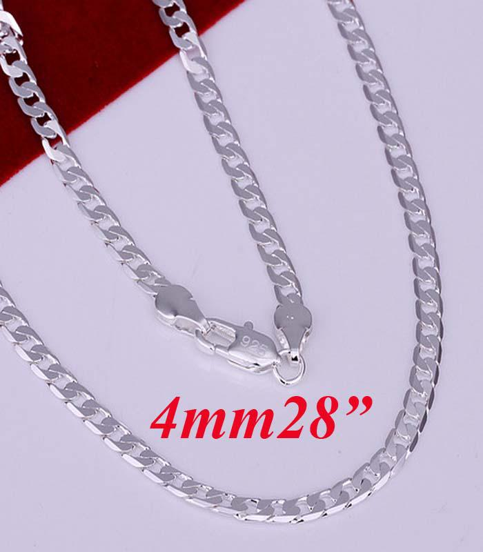 2017 King Size Men's Necklace 925 Silver 4mm Width Curb Chains ...