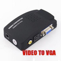 Wholesale New TV RCA Composite S video AV In to PC VGA LCD Out Converter Adapter Box Black