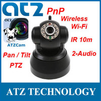 Wholesale ATZ CF001PW Wireless WIFI PnP Plug amp Play IP Camera Surveillance Monitoring PTZ IR m way Audio Free DDNS Free iPhone Android APP ATZCam
