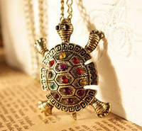 Wholesale 24pcs Fashion Turtle Necklace Crystal Turtle Pendant Long Necklace Animal Jewelry