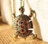 turtle pendant - 24pcs Fashion Turtle Necklace Crystal Turtle Pendant Long Necklace Animal Jewelry