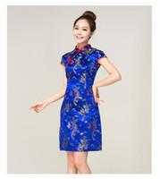 Wholesale Customized Stone Blue Chinese Qipao Embroidery cheongsam Dragon Phoenix Strapless Evening dress Lady party Short Skirt Girls Chinese Dresses