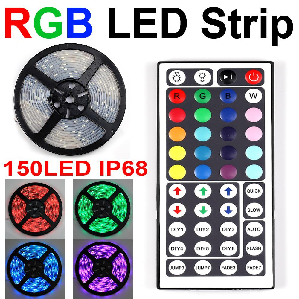 led strip 5050 ip68 rgb waterproof 5m 150led flexible strip light 44 key ir remote light. Black Bedroom Furniture Sets. Home Design Ideas