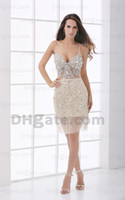 Model Pictures Spaghetti Tulle Wow Screaming!!So Sexy Spaghetti Sheath Crystal Sequin See through Tulle Prom Graduation Dresses