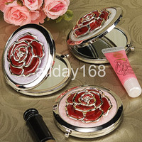 Wholesale RED rose metal Compact Mirror Cosmetic Pocket Hand Makeup Mirror Wedding Favor Personalized Xmas Gift