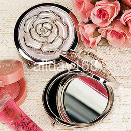 Wholesale WHITE rose metal Compact Mirror Cosmetic Pocket Hand Makeup Mirror Wedding Favor Personalized Xmas Gift