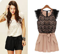 Wholesale On Sale Women s White Lace Jumpsuits S M L XL Plus Size Black Waist Belt Good Quality Lace Dress Pleat Fashion Summer Rompers Catsuits