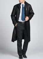 Wholesale Hot Men Slim leather coat the longer section leather coat lining velvet casual