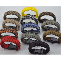 Wholesale Free DHL Outdoor Bracelets Plastic Curved Buckle Paracord Parachute Survival Bracelet