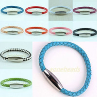 Wholesale 21CM Charms Mix Color Braided Rope PU Leather Magnetic Stainless Steel Clasp Bracelet Bangle Wristband