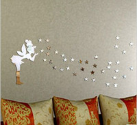 Wholesale set fairy with stars girl wall decal D mirror stickers home decor kids bedroom