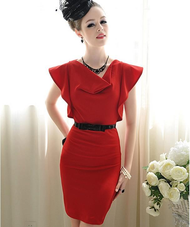 2017 2013 New Fashion Mini Dress Office Ladies Work Dress Red ...