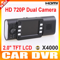 Wholesale Wide degree X4000 Car Dvr Camera Dual Lens IR LED Night Vision x720p Cam Recorder HDMI